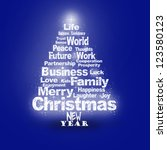 abstract christmas greeting... | Shutterstock . vector #123580123