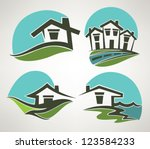 branding,building,cartoon,city,collection,cottage,design,detached house,eco,ecological,form,frame,friendly,grass,green