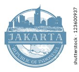 Grunge rubber stamp with the name of Jakarta, Indonesia written inside the stamp, vector illustration