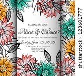 wedding card or invitation with ... | Shutterstock .eps vector #123601777