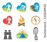 set of nine outdoor  turismu ... | Shutterstock .eps vector #123628933
