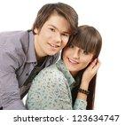 portrait of young happy smiling ... | Shutterstock . vector #123634747