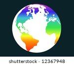 terrestrial globe with rainbow... | Shutterstock . vector #12367948