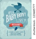 baby shower invitation template ... | Shutterstock .eps vector #123685777