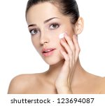 beauty face of young woman with ... | Shutterstock . vector #123694087