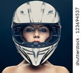 Sexy Woman In Helmet On Dark...