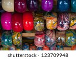 Colorful wooden bracelet - stock photo