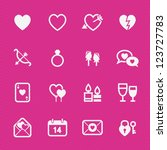 valentine's day icons with pink ... | Shutterstock .eps vector #123727783
