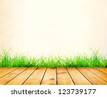 old wall and green grass on... | Shutterstock . vector #123739177