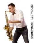 saxophone player in white shirt | Shutterstock . vector #123740083