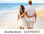 vacation couple walking on... | Shutterstock . vector #123744373