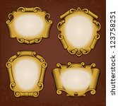 Set of vintage vector frames cartouches scrolls - stock vector