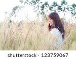 teen girl in forest lawn. | Shutterstock . vector #123759067