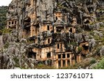 View of rock cut tombs of Myra - stock photo