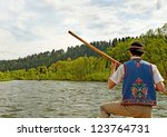 Dunajec river between Slovakia and Poland. - stock photo
