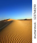 beatiful evening landscape in desert - stock photo