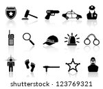 police icons set - stock vector