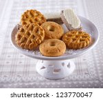 Some different kind of biscuits over a white upstand - stock photo