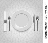 dinner plate with cutlery and... | Shutterstock .eps vector #123796507
