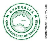 Grunge rubber stamp with the name and map of Australia, vector illustration - stock vector