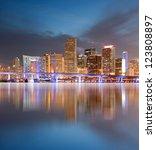 miami florida illuminated... | Shutterstock . vector #123808897