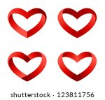 Heart icons set. INFINITE LOVE Looped Ribbon style. Hearts templates such as logo for St. Valentines day. Vector. - stock vector