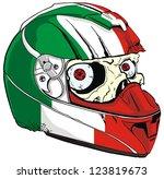 helmet skull and italy flag
