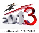High resolution conceptual 3D 2013 year with a growing arrow isolated on white background with a business man flying. A metaphor for economy, finance, progress,success,improvement,profit designs. - stock photo
