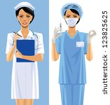 Vector image of two nurses in a medical uniform - stock vector