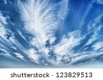 Daytime sky with stratus clouds wide-angle - stock photo