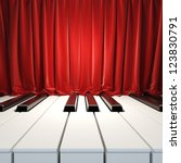Piano Keys and red curtains. A 3d illustration of blank template layout surface from piano keys and red velvet curtains. Blank template layout of music placard - stock photo