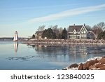 Winter waterfront view of Charlottetown, Prince Edward Island - stock photo