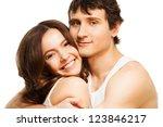 happy boyfriend and his... | Shutterstock . vector #123846217