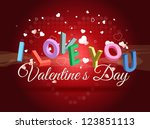 valentine's day card i love you | Shutterstock .eps vector #123851113