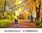 Senior couple walking  in the park - stock photo