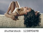 Fashion photo of beautiful nude woman with sexy slim body - stock photo