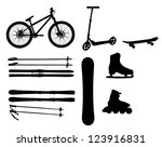 sports Equipment silhouette vector illustration - stock vector
