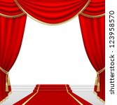 Theater stage  with red curtain. Clipping Mask. Mesh. - stock vector
