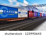 Freight Train With Color Cargo...