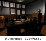 3D rendering of an old American film noir detective agency in Sil - stock photo