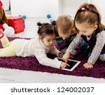 kids with tablet | Shutterstock . vector #124002037
