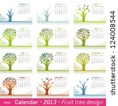 Calendar 2013 Fruit Tree Design. Choose your favorite month for your 2013 calendar. - stock photo