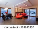 ruby house   spacious living... | Shutterstock . vector #124015153