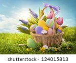 Basket With Easter Eggs  On...
