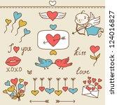 set of valentine's cute doodles ... | Shutterstock .eps vector #124016827