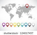 collection of 3d map pointers... | Shutterstock .eps vector #124017457