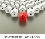 houses concept one is red | Shutterstock . vector #124017703