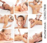 Spa collage: different types of massage isolated on white background - stock photo