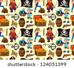 seamless pirate pattern,cartoon vector illustration - stock vector