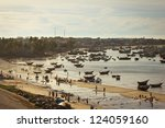 fishing village with a lot of boat - stock photo
